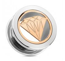 Piercing tunnel diamant rosé