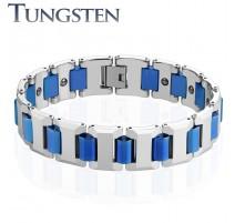Bracelet homme tungstène cylindres bleu