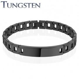 Bracelet homme tungstène noir plaque
