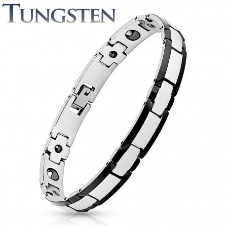 Bracelet homme tungstène bordures noires