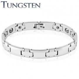 Bracelet homme tungstène bordures argentées