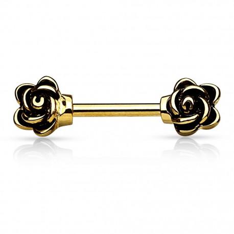 Piercing téton fleurs doré