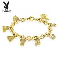 Bracelet Playboy doré charms strass