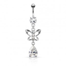Piercing nombril papillon larme
