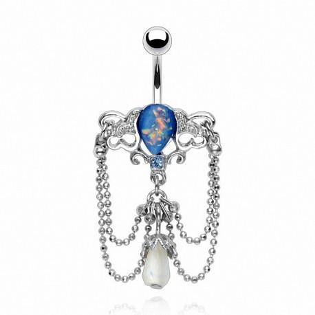 Piercing nombril chandelier opale bleu