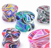Piercing plug acrylique marbré