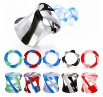 Piercing plug acrylique transparent tourbillon