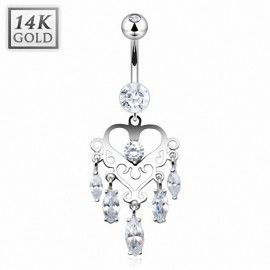 Piercing nombril Or blanc 14 carats Chandelier