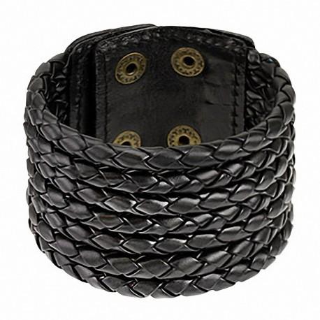 Bracelet cuir noir 7 cordes