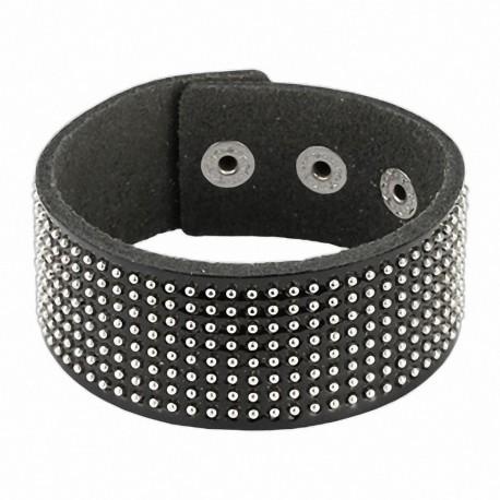 Bracelet cuir noir brillant billes