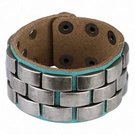 Bracelet cuir turquoise plaques