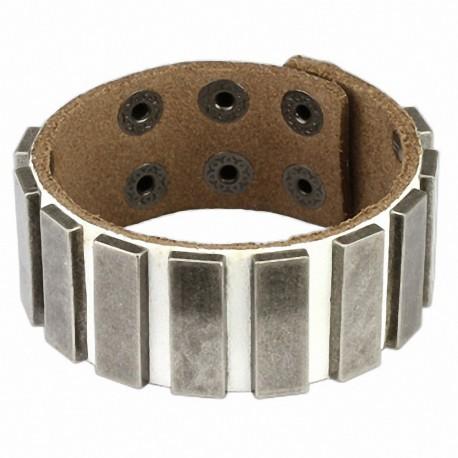 Bracelet cuir blanc plaques
