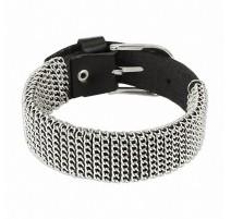 Bracelet femme cuir noir chaines