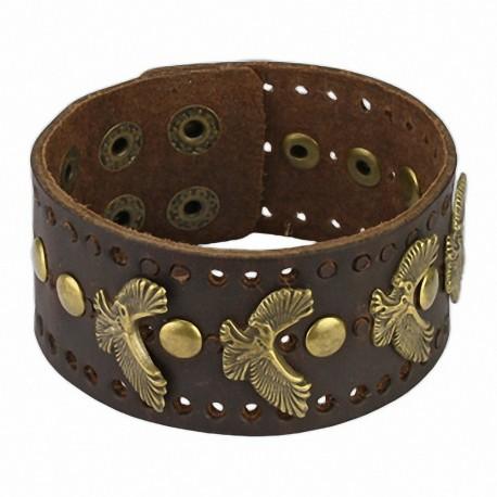 Bracelet homme cuir marron aigles