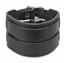 Bracelet cuir noir ceinture double