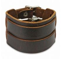 Bracelet cuir marron ceinture double