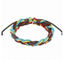 Bracelet cuir homme marron brins tricolores