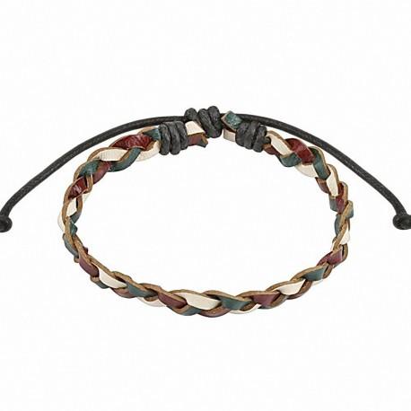 Bracelet cuir homme tricolore