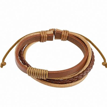 Bracelet cuir marron homme quatre brins