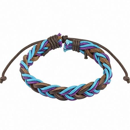 Bracelet cuir marron homme cordon bicolores