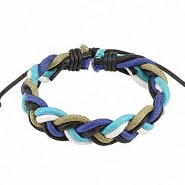 Bracelet cuir bleu homme