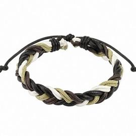 Bracelet cuir marron foncé homme