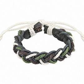Bracelet cuir tricolore homme
