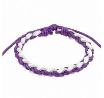 Bracelet cuir violet et blanc homme