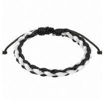 Bracelet cuir noir et blanc homme