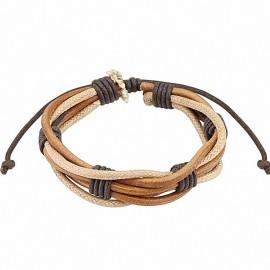 Bracelet homme cuir marron cordes