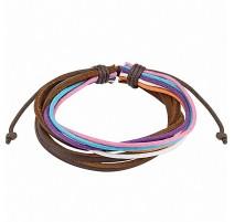 Bracelet homme cuir marron cordes multicolores