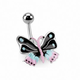 Piercing nombril papillon coloré