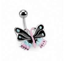 Piercing nombril papillon coloré