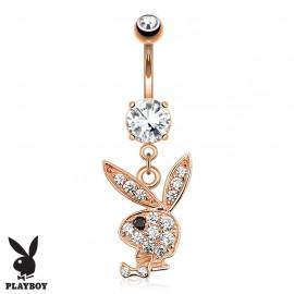 Piercing nombril Playboy plaqué or rose pendentif