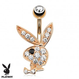 Piercing nombril Playboy plaqué or rose