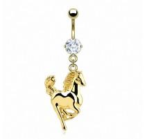 Piercing nombril plaqué or cheval