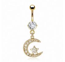 Piercing nombril plaqué or lune étoile gemmes