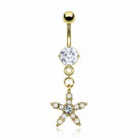 Piercing nombril plaqué or étoile perles
