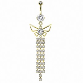 Piercing nombril doré papillon chandelier
