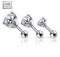 Piercing Cartilage Or Blanc 14 Carats
