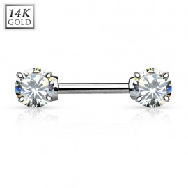 Piercing téton barbell Or Blanc 14 Carats