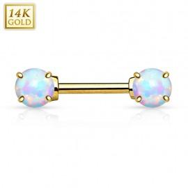 Piercing téton opale Or Jaune 14 Carats
