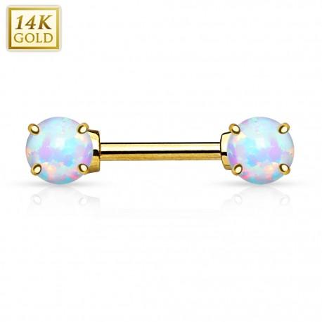 Piercing téton opale Or Blanc 14 Carats