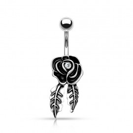 Piercing nombril rose feuilles