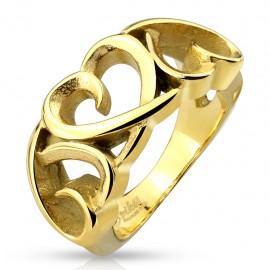 Bague femme trois coeurs doré