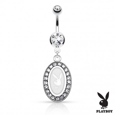 Piercing nombril Playboy médaillon blanc