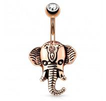 Piercing nombril éléphant or rose