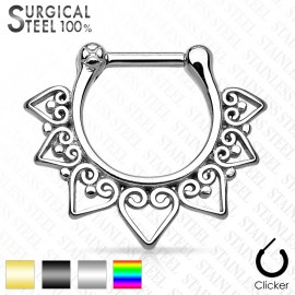 Piercing septum éventail tribal acier chirurgical