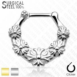 Piercing septum fleurs acier chirurgical