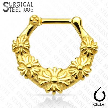 Piercing septum fleurs acier chirurgical doré